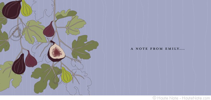 Fruits - Fig - a note from me -  Personalize your own stationery with a name, message or invitation. - Sold in boxed sets of 8 cards. - hautenote.com