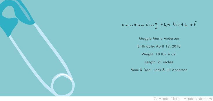 New Addition - Safety Pin - birth announcement - Personalize your own stationery with a name, message or invitation. - Sold in boxed sets of 8 cards. - hautenote