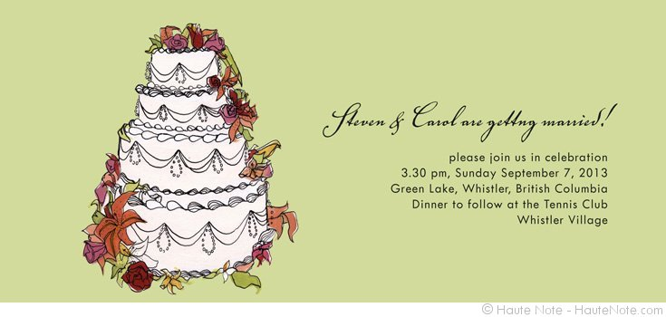 Weddings - Cake - Getting Married - Personalize your own stationery with a name, message or invitation. - Sold in boxed sets of 8 cards. - hautenote.com