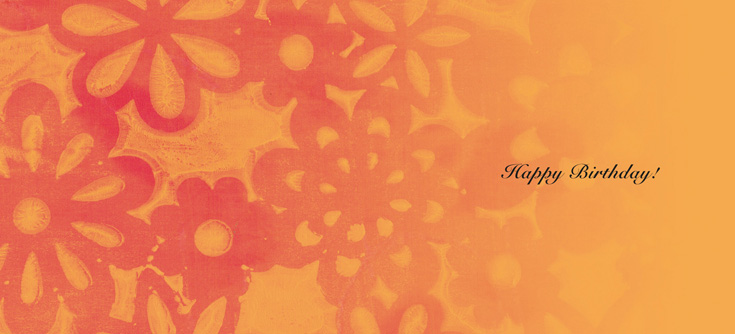 Batik - Mango Tango - happy birthday - Personalize your own stationery with a name, message or invitation. - Sold in boxed sets of 8 cards. - hautenote.com
