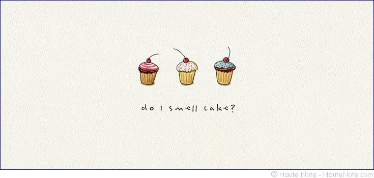 Gatherings - Cupcakes - Do I Smell Cake - Personalize your own stationery with a name, message or invitation. - Sold in boxed sets of 8 cards. - hautenote.com
